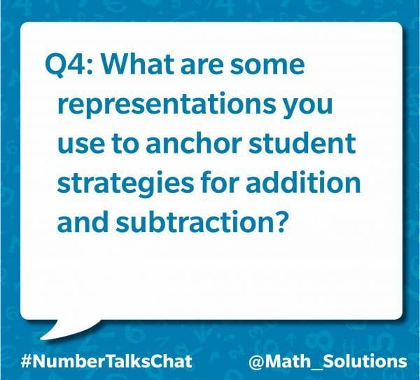 q4: what are some representation you use to anchor student strategies for addition and subtraction? #numbertalkschat @math_solutions