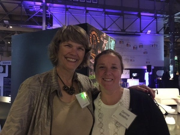Cathy Seeley and Denise Botelho say hello at the NCSM Exploratorium party