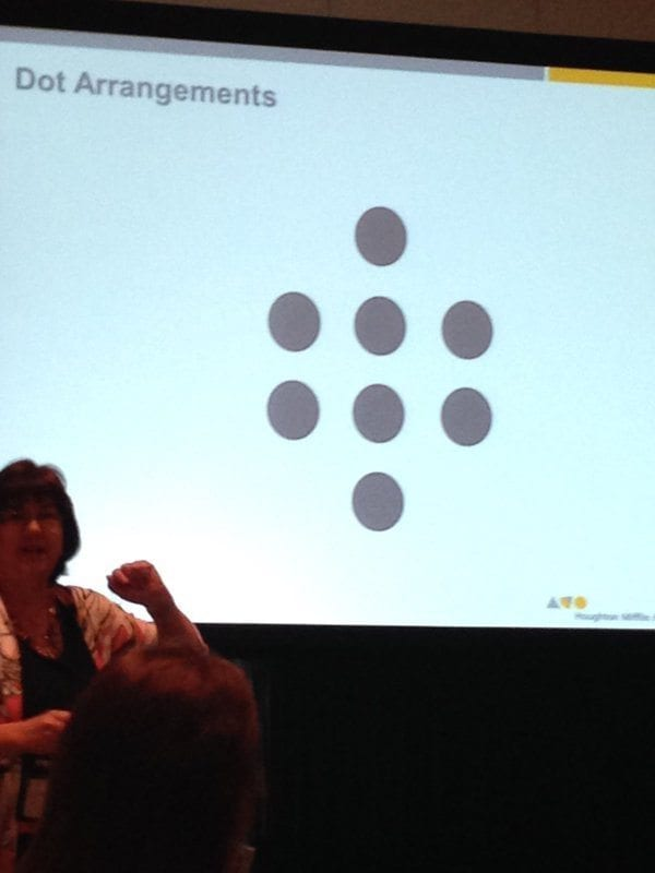 Lisa Rogers at NCTM in front of a powerpoint slide about dot arrangements
