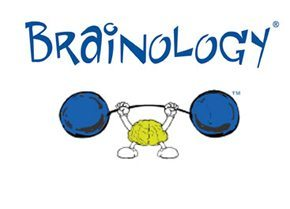 brainology logo with a brain lifting dumbells