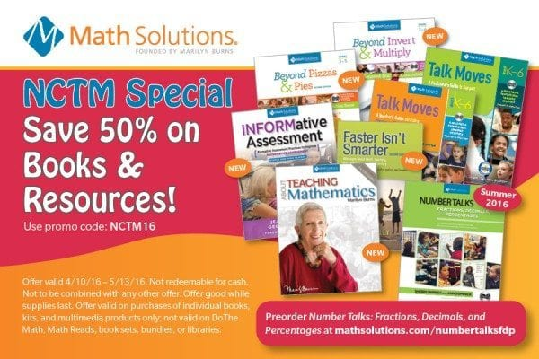 NCTM Math Solutions 50 percent off Discount