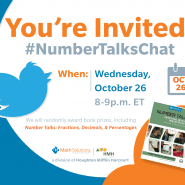 Math Solutions NumberTalks Chat invite, image of twitter bird and a copy of a Number Talks book cover | You're invited! #Numbertalkschat Wednesday October 26, 2016 #NumberTalksChat