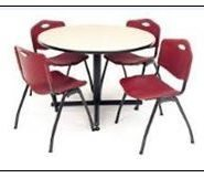 round table with four red chairs | Can you use different strategies to find a common answer