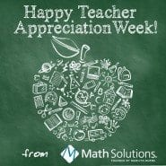 green chalkboard with math and education graphics in the shape of an apple | happy teacher appreciation week! from Math Solutions founded by Marilyn Burns