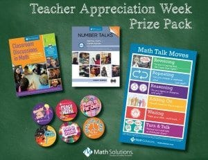 classroom discussions in math, number talks, book covers, math talk moves poster, math buttons | Teacher Appreciation Week Prize pack, math solutions founded by marilyn burns