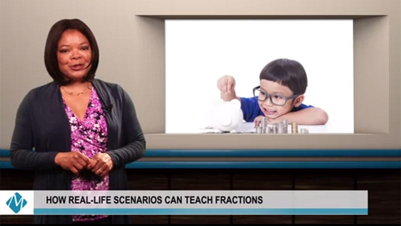 presenter in a math video showing a clip of a math student counting change | real-life scenarios can teach fractions