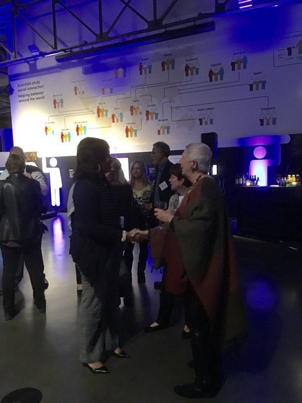 Marilyn Burns chats with math educators at the Exploratorium