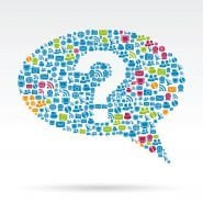 an illustration of a large conversation bubble with a question mark in the middle