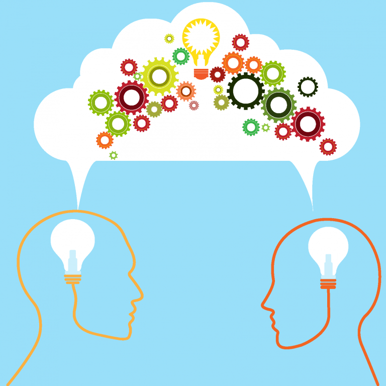 illustrated outlines of two human heads with lightbulbs where brains should be and a shared thought cloud above their heads filled with a lightbulb and colorful gear icons | Coaching For Math Teachers Has the Benefit of Being Where They Need it-When They Need It