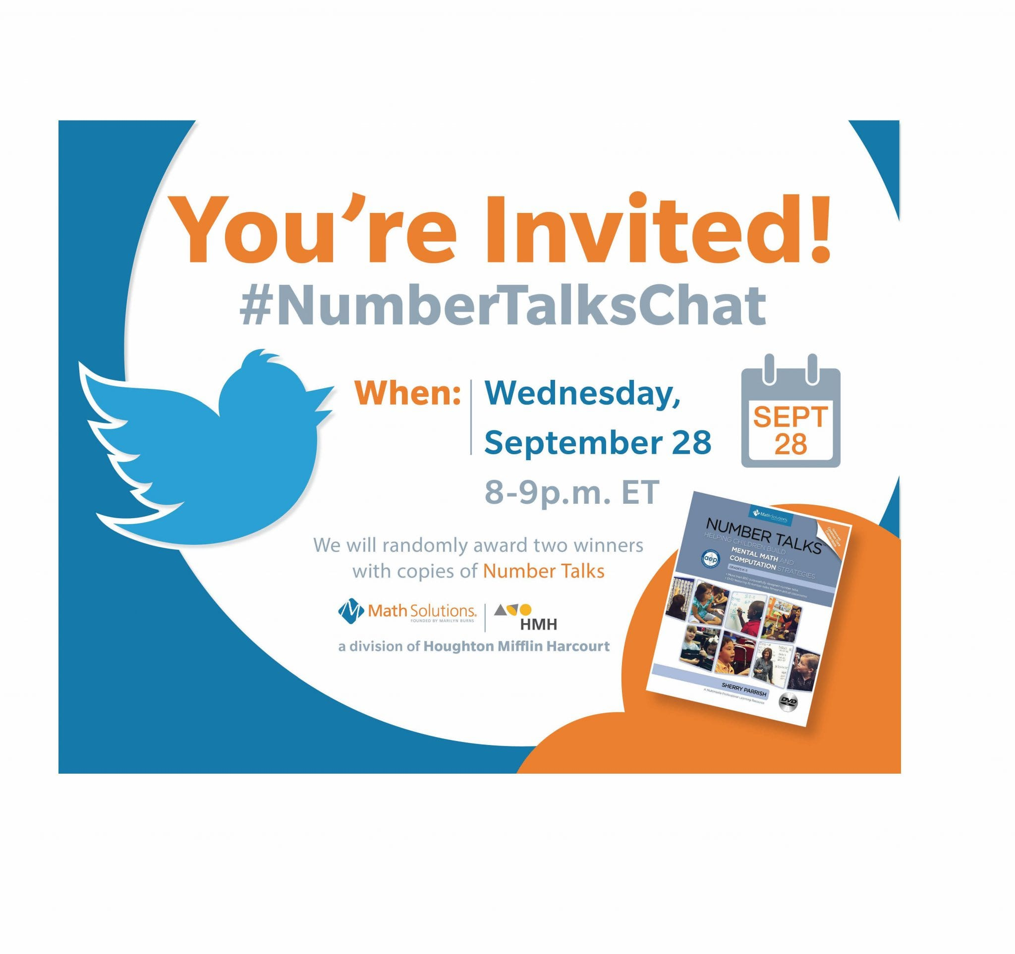 Math Solutions NumberTalks Chat invite, image of twitter bird and a copy of a Number Talks book cover | You're invited! #Numbertalkschat Wednesday September 28, 2016