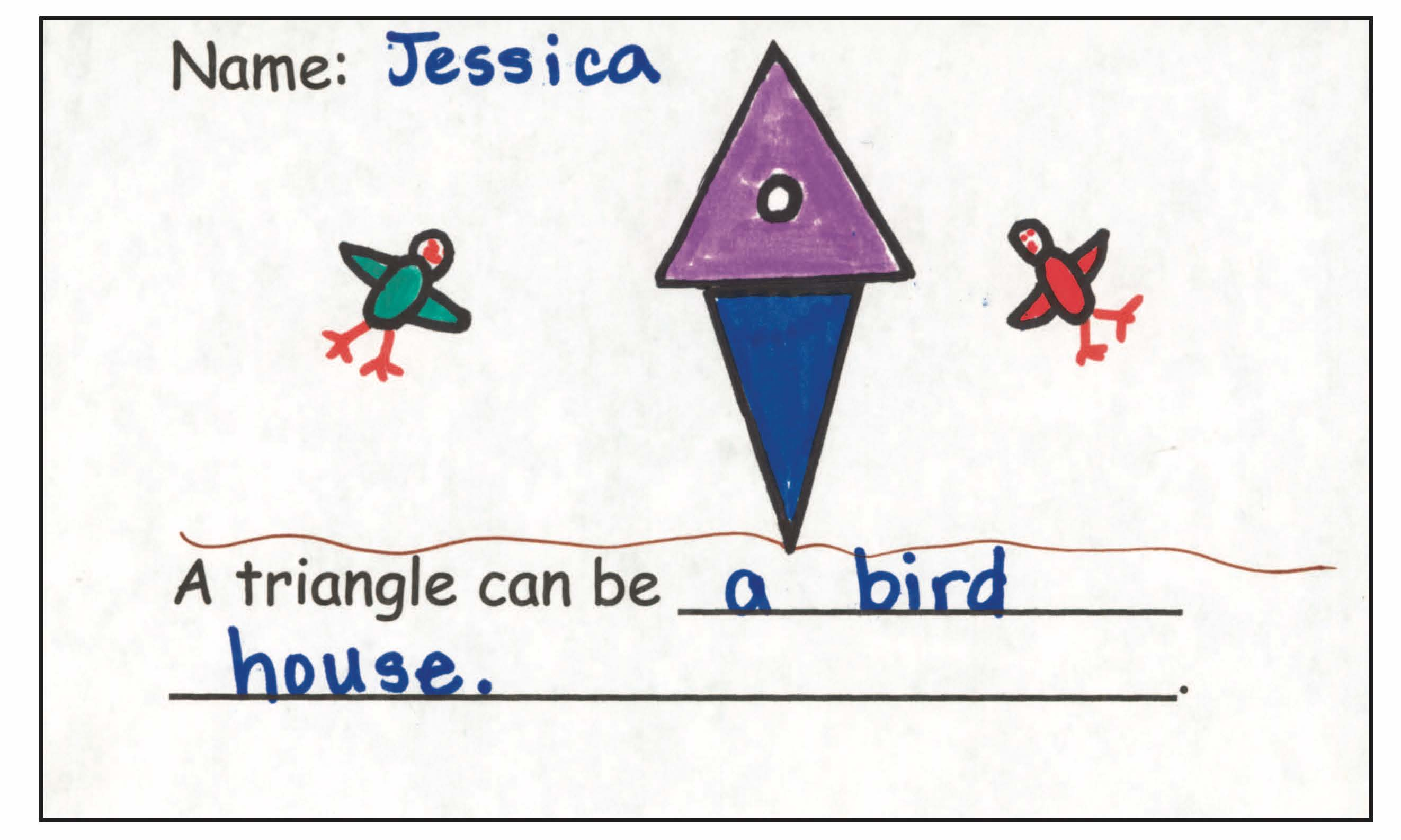 Figure 3. Jessica used two triangles—one for the birdhouse and one for the stand.
