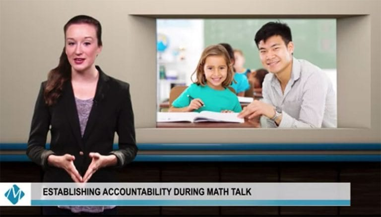 woman in black blazer hosting a math video with an image of a teacher and student behind her | establishing accountability during math talk