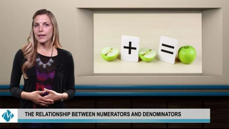 woman presenting a math video showing apples in an equation | the relationship between numerators and denominators