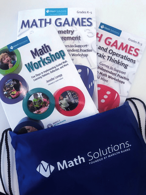 Math Solutions Bundle: Math Workshop book and two Math Games books in a Math Solutions nylon backpack