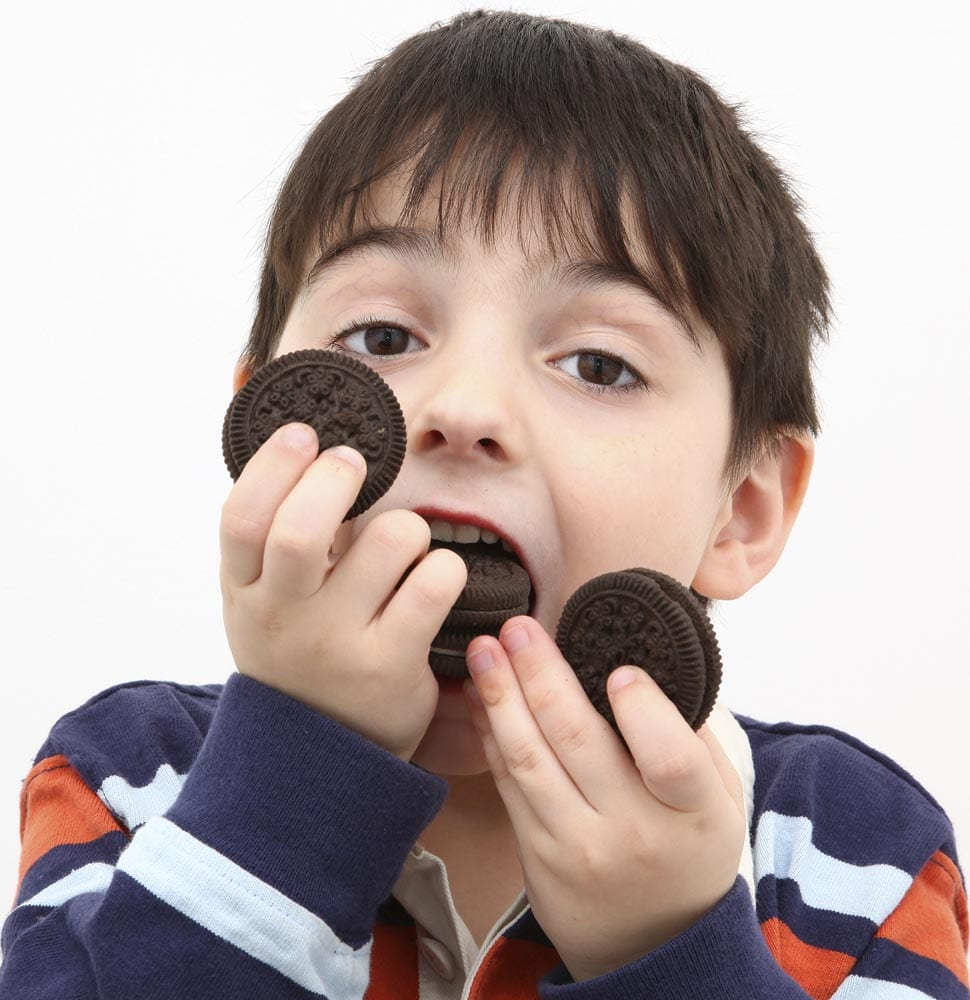 Young five year old boy eating chocolate cookies.