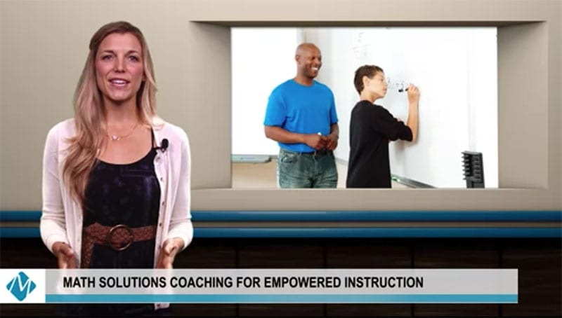 female host presenting math video standing in front of an image of a black male math teacher and younger male student | math solutions coaching for empowered instruction