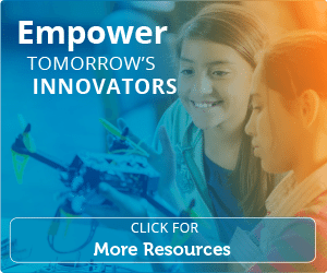 two young female students working with a flying drone in a classroom | empower tomorrow's innovators. click for more resources