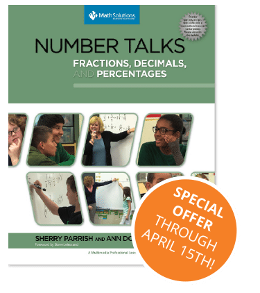 number talks: fractions decimals, and percentages book cover with special offer | special offer through april 15th