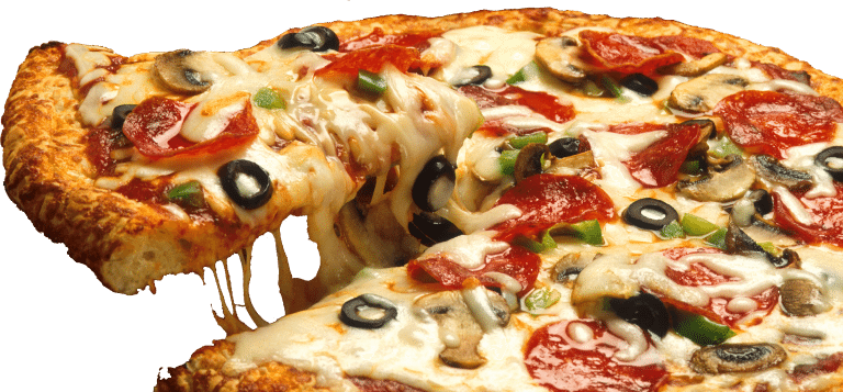 A slice of pizza being cut