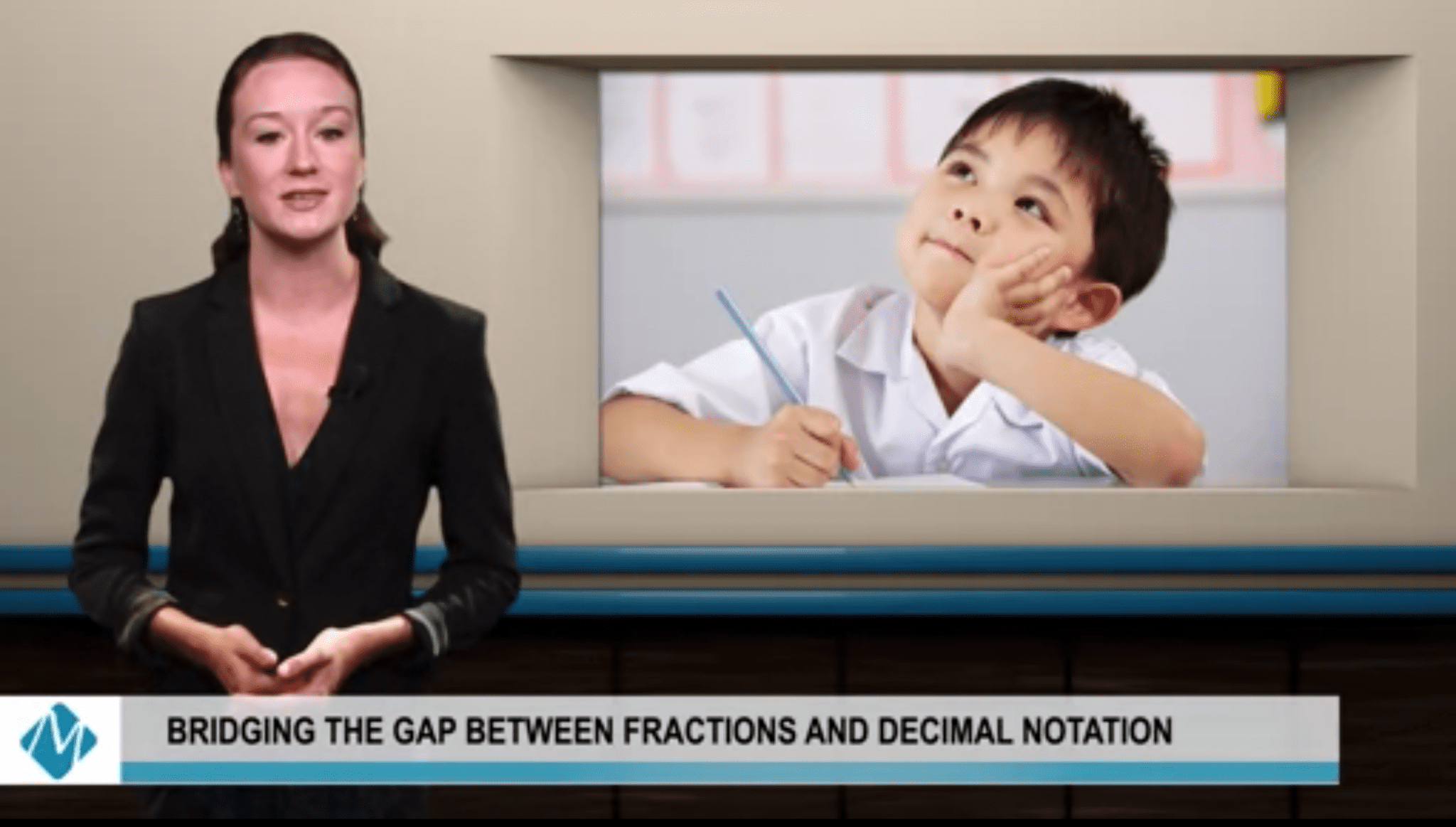 woman in black suit next to image of young math student | bridging the gab between fractions and decimal notation
